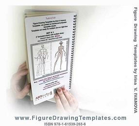 Back cover of the figure drawing template book. An example of original template and a figure drawn basing on the template