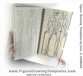 Figure drawing template with static figure : front view and three quarter view