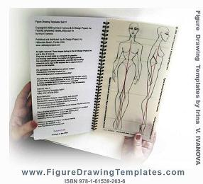 Figure drawing template with static figure : front and side view