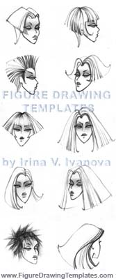 The Figure Drawing Templates by Irina V. Ivanova . Faces and hair styles