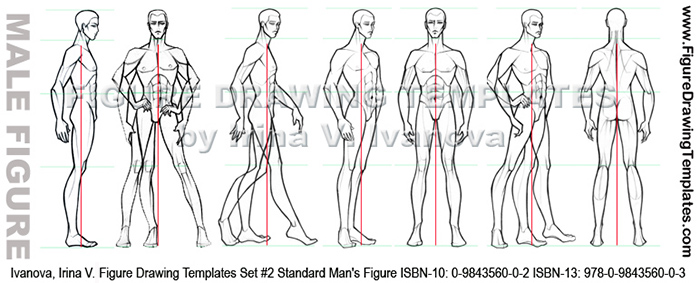 Learn how to draw male figure with figure drawing templates by irina v ivanova